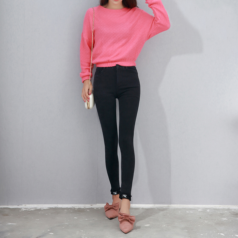 2017 Spring Autumn Women Ankle-Length Cuffs Black Jeans Pants Stretch Skinny Female Slim Pencil Pants Denim Ladies Trousers spring summer autumn ladies full length jeans students stretch skinny female slim pencil pants denim ladies trousers yn301