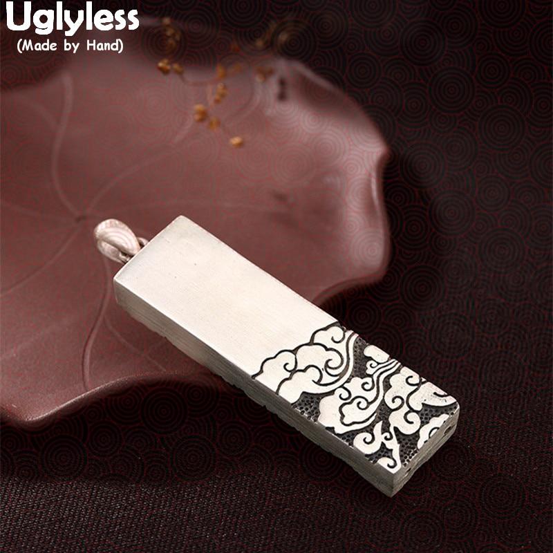 Uglyless réel 925 argent Sterling graver pendentif nuage sans collier unisexe Rectangle Bijoux fins ethnique Thai argent Bijoux