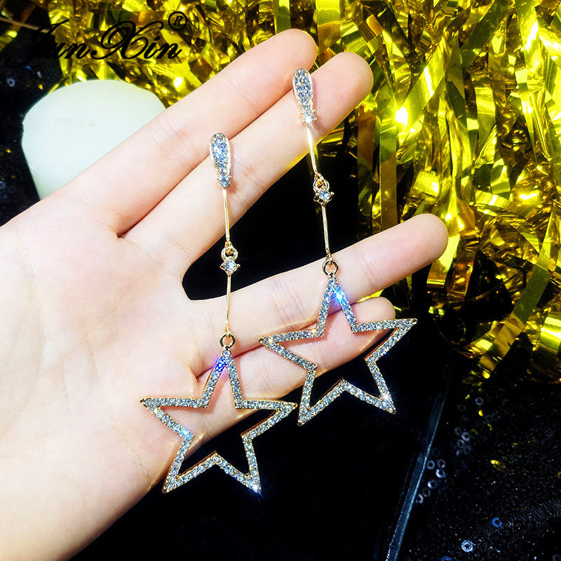 JUNXIN Korean Style Cute Star Drop Earrings For Women White Gold Rose Gold Filled Pave White Crystal Long Fringe Earrings Female