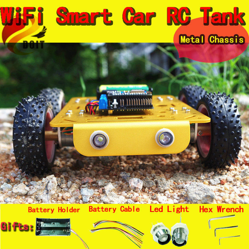 Official DOIT Wireless WiFi RC Car C300 From NodeMCU Development Kit with L293D Motor Shield DIY RC Toy Robot Model Remote cool intellectual development diy toy car black blue 2 aa