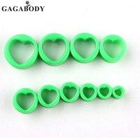 GAGA Yeşil Kulak Tünel Vida Tak Kulak Genişletme Sedye Ölçer Body Piercing 1 Çift Her Boyutu 8/10/12/14/16/18/20/22/24/26mm