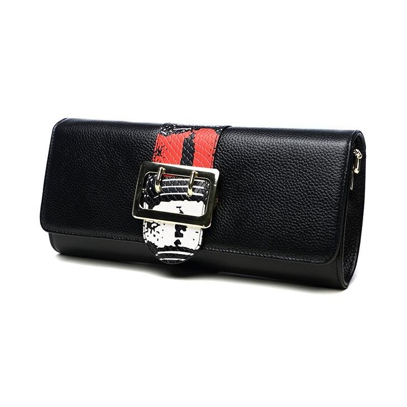 Serrure Jour Embrayages Vintage rouge Motif En La Femmes Portefeuille Sacs Messager Chaîne D'épaule Véritable De Soirée Enveloppe Noir Sac Cuir Serpentin W29EDIYH