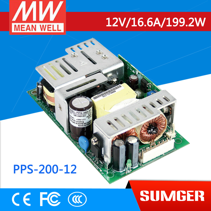 (CB)MEAN WELL original PPS-200-12 12V 16.6A meanwell PPS-200 12V 199.2W Single Output with PFC Function tuffstuff pps 200