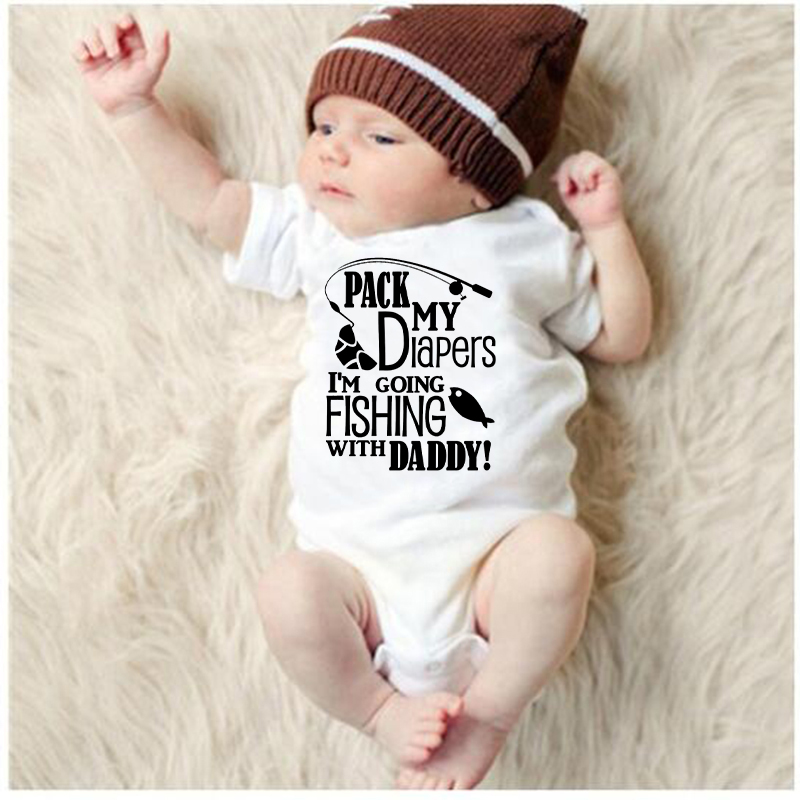 2019 New Summer I am going Fishing with daddy Newborn Infant Baby Boys Girls Letter   Romper   Short Sleeve Jumpsuit Clothes 0-24M