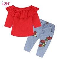 LZH Children Clothes 2017 Autumn Winter Baby Girls Clothes Set T Shirt Jeans 2pcs Outfit Kids