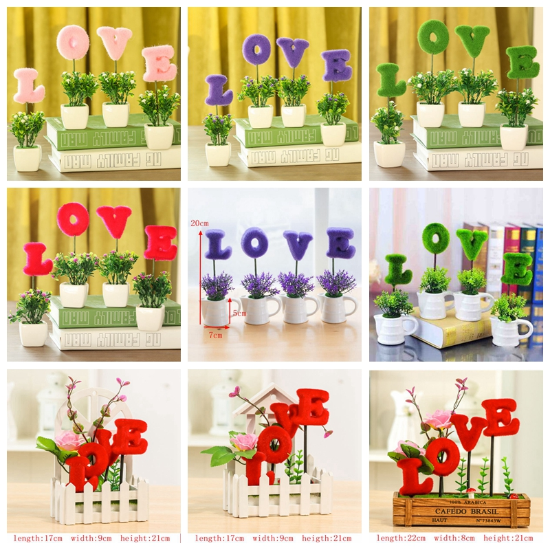 4pcs/lot Shape Love Simulation Artificial Flowers Small Potted Plant Set with Kettle and Picket Fence Home Wedding Decorative129
