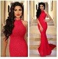 Elegante Do Laço Vermelho Longo Vestidos De Baile Bela Alta Neck Backless Da Sereia Vestido de Noite vestido de gala