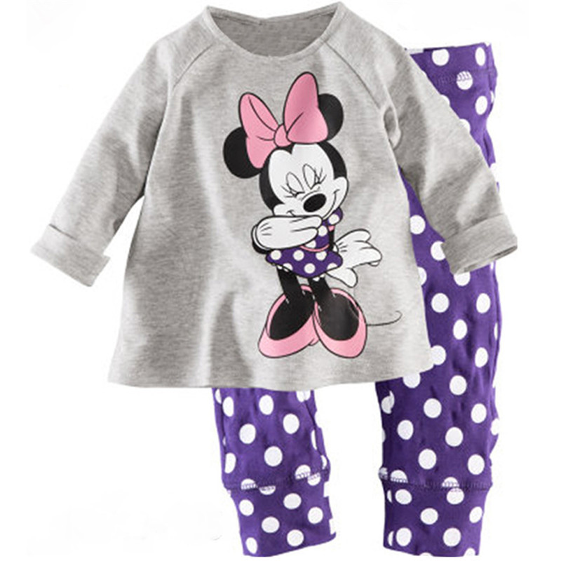 цена на 2017 Kids Clothes Baby Girls Clothing Sets Children Minnie Pajamas Pijama Set Roupas Infantis Menina Homewear Sleepwear Suits