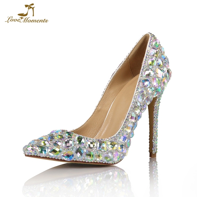 17842ad25e1 Theatre Stage Performance High Heels Luxurious Crystal AB Bride Shoes  Pointed Toe Wedding Party Pumps Farewell Ceremony Shoes