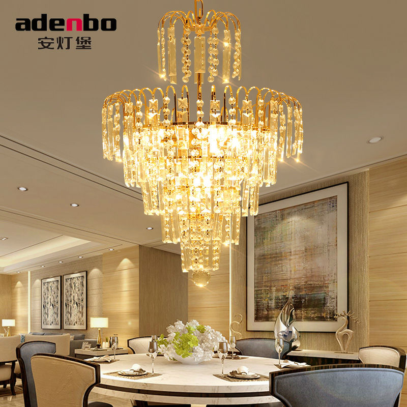 modern gold led crystal chandeliers lights with clear crystals and glass 40cm dining room chandelier for - Dining Room Crystal Chandeliers