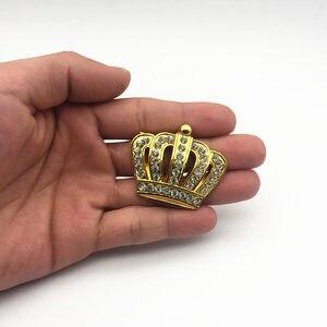 Image 4 - Стайлинг автомобиля металлическая Золотая Корона эмблема наклейка с Стразы автомобильный значок наклейка стикеры аксессуары маленький размер