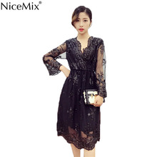NiceMix Sexy V-neck Embroidery Dress 2017 Women Dresses Sequined Patch Elegant Party Female Elastic High Waist Lace
