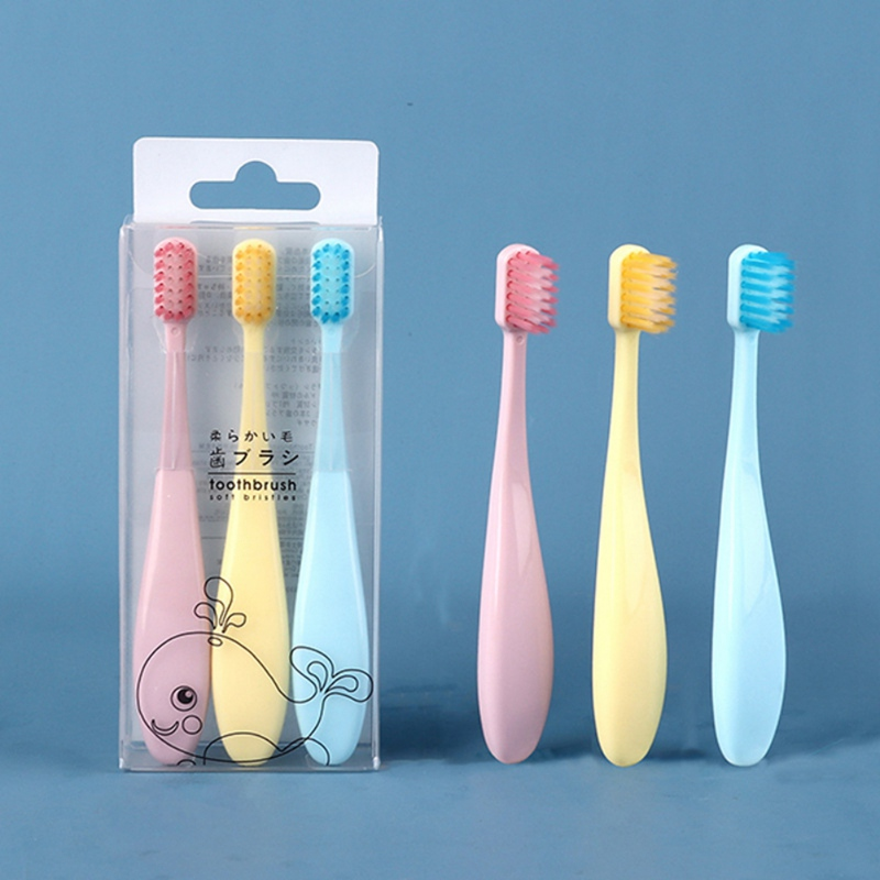 New 3pcs Soft Bristles Cute Solid Color Children Toothbrush Baby Kids Dental Oral Hygiene Care image