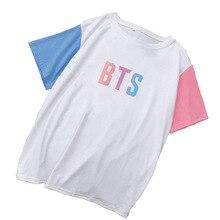55481ed2c440d Mode D été hauts Kpop BTS Fleur Conception Lâche T-shirt Femmes courtes  manches Frappé t-shirts colorés Harajuku Ulzzang chemise.