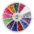 2017 Nuevo 12 Colores Del Arte Del Clavo 1200 piedras de Uñas decoración 2mm Para DIY Nail Art Tips Cristal Glitter Rhinestone D104