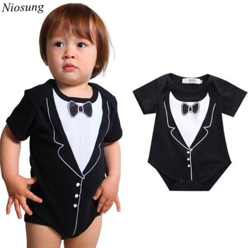82a0e9ad1 Niosung Newborn Infant Baby Boys Short Sleeve Bow Tie Printing ...