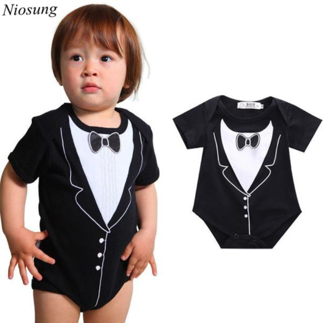 0d65e2970291 Niosung Newborn Infant Baby Boys Short Sleeve Bow Tie Printing Romper  Jumpsuit Clothes Outfits Kids Clothes