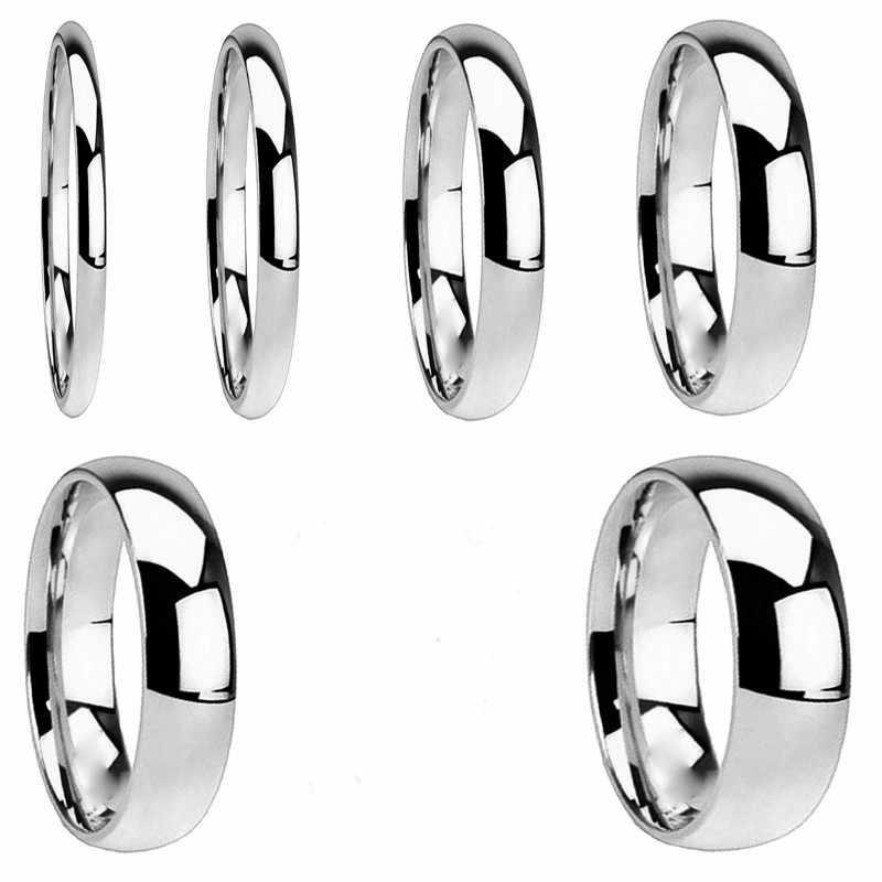 ง่าย Rose Gold แหวนผู้ชายผู้หญิงแผ่นแหวนเงินแหวนสแตนเลสเครื่องประดับงานแต่งงานแหวนคู่อุปกรณ์เสริมแหวน