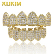 Xukim Jewelry Bling Bing Silver Gold Color Zirconia Iced Out Top & Bottom Teeth Grillz Vampire Fangs Rapper Hip Hop Jewelry Gift xukim jewelry bing bing gold halloween top