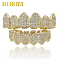 Xukim Jewelry Bling Bing Silver Gold Color Zirconia Iced Out Top & Bottom Teeth Grillz Vampire Fangs Rapper Hip Hop Jewelry Gift