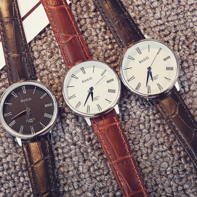 цены Women Watches Leather Band Men Quartz Wristwatch Fashion Classical Student Watch Casual Lover Watch Waterproof  Christmas Gift