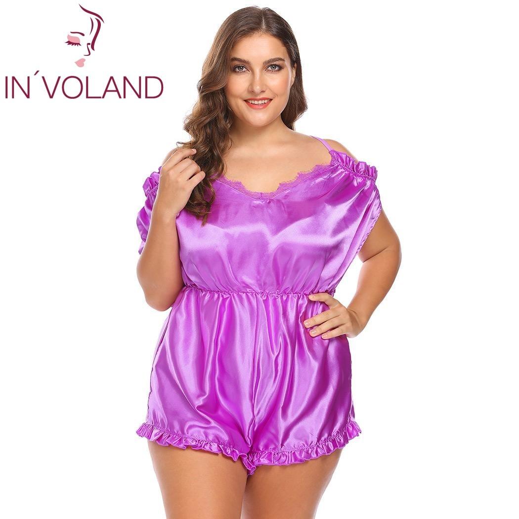 16c9484dc8e IN VOLAND Plus Size Women Onesies Sleepwear L-4XL Sexy Lingerie V-Neck  Ruffles Trim Satin One Piece Large Silk Bodysuit Big Size