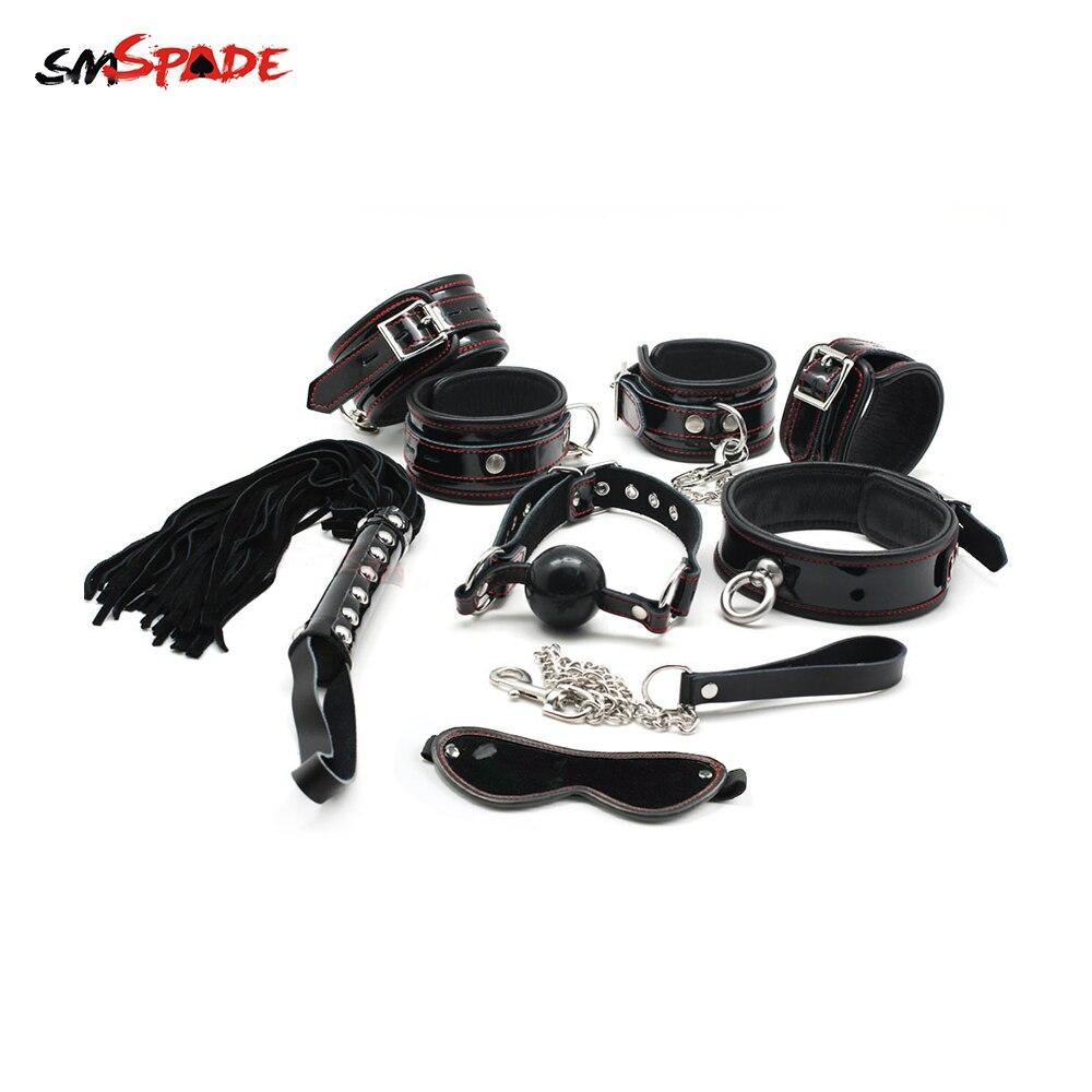 Smspade Bondage Restrictions 6-PCS Ensemble Sexe Handscuffs & Menottes, Ball Gag, Martinet, Sexe Masque, sex Toys pour Les Couples Jeux Pour Adultes