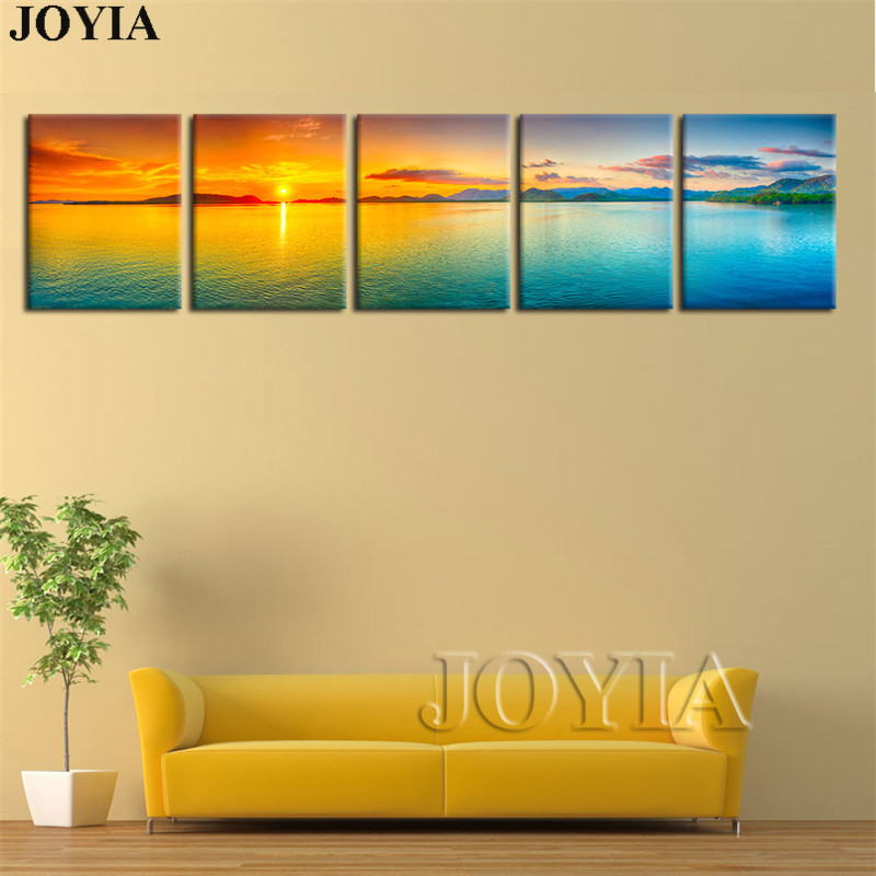 Large Canvas Print Seascape Wall Art Sun on Ocean PAINTING PICTURE Sea Sunset Photo Printings Wall Paintings No Frame 5 Piece-in Painting & ...