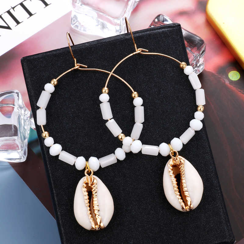 Fashion Sea Shell Pearl Earrings for Women Bohemian Gold Metal Cowrie Conch Shell Dangle Earring Ocean Female Jewelry 2019