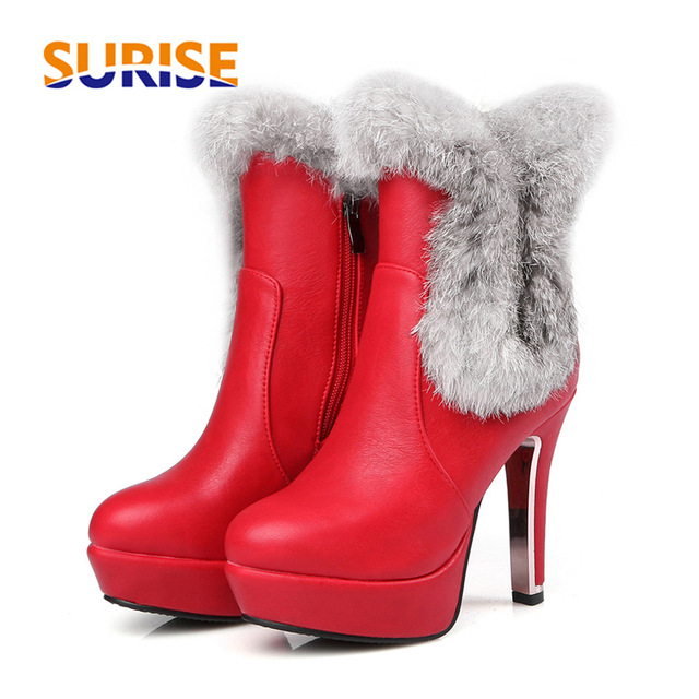 Women Platform Chunky High Heel Zip Up Ankle Boots Shoes With Rabbit Fur