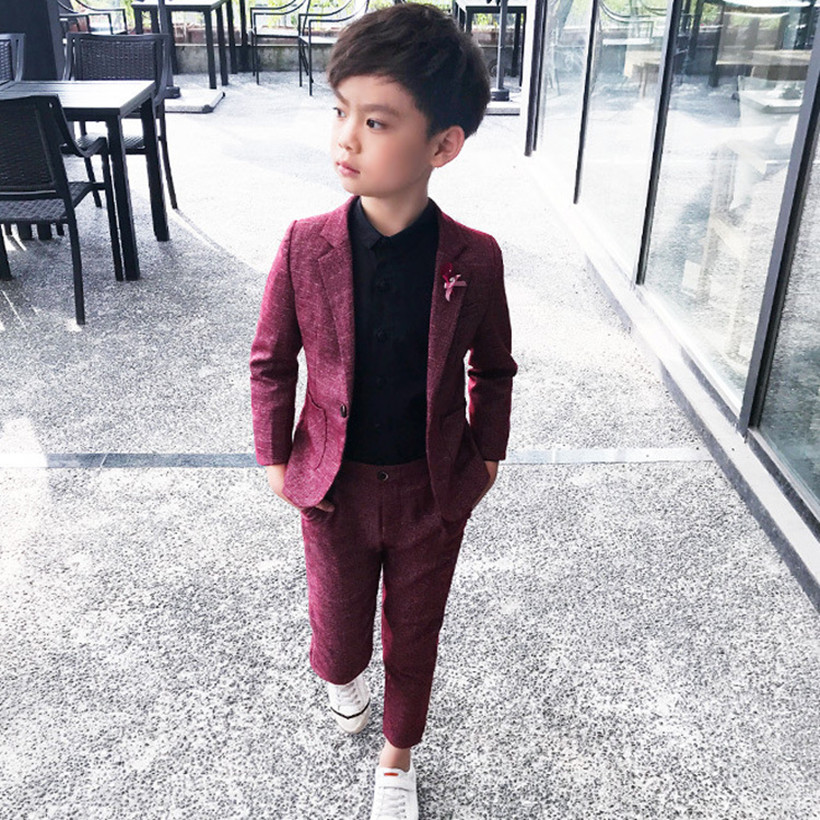 2 Piece Boys Suits For Weddings Kids Prom Suits Red Black Wedding Suits For Boys Kids Boys Clothes Set 3 5 7 9Y Boys Blazers a-line
