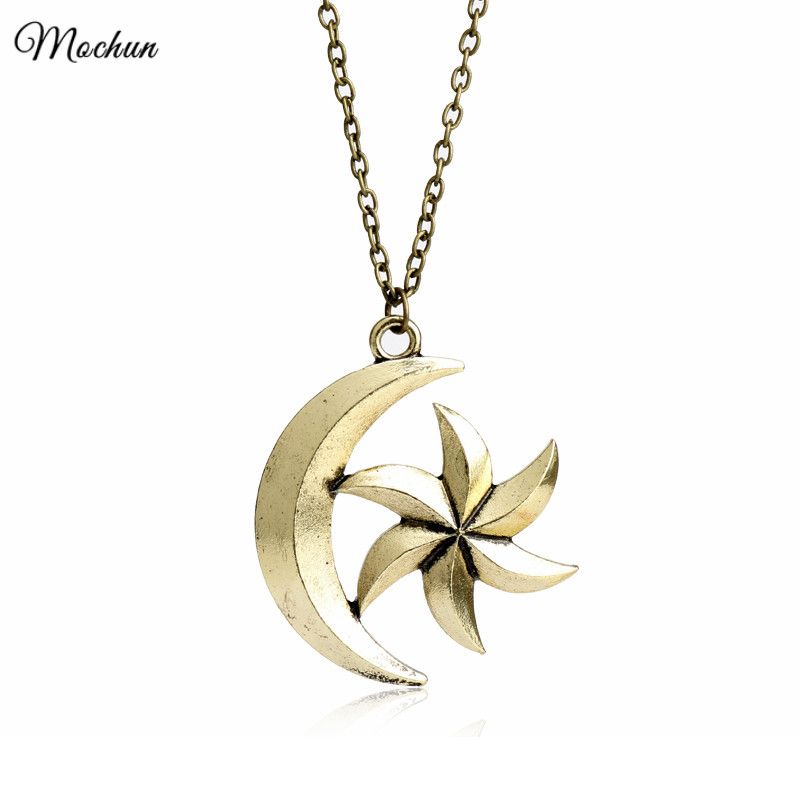 MQCHUN The Elder Scrolls V Skyrim Necklace Vintage Moon Star Pendant Hot Game Jewelry For Men Women Charms Christmas Gifts image