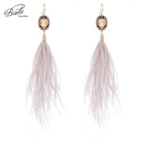 Badu Long Pink Feather Ostrich Natural Style Oval Crystal Rhinestone Pendant Earrings Romantic Party jewelry Christmas Gift