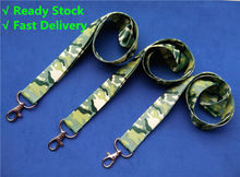 1piece Camo/ Rainbow Key Lanyard with Keyring Army Green Mobile Neck Straps Camouflage ID Badge Holders 1 inch wide(China)
