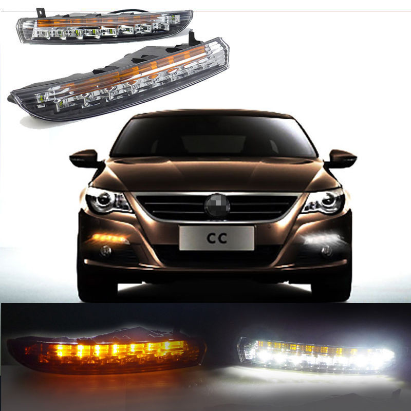 LED Car DRL Daylight For Volkswagen VW Passat CC 2010 2011 2012 2013 Daytime Running Lights With Yellow Flicker Turn Signal  sncn led daytime running lights for volkswagen vw passat cc 2010 2011 2012 2013 drl fog lamp with yellow turning signal lights