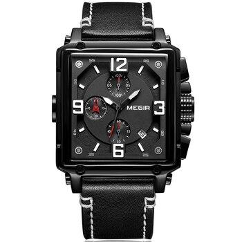 MEGIR Luxury Brand Chronograph Sport Mens Watches Fashion Military Waterproof Leather Quartz Watch Clock Men Relogio Masculino