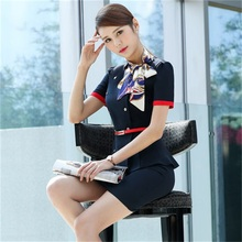 2018 summer professional women's professional suit beautician overalls hotel front desk uniforms stewardess uniforms