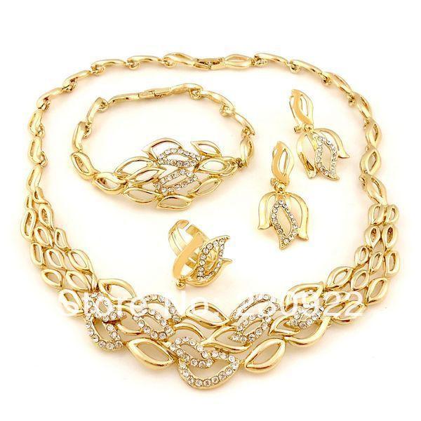 2014 Colored Rhinestone Jewelry Set Pakistani Bridal Dubai Gold