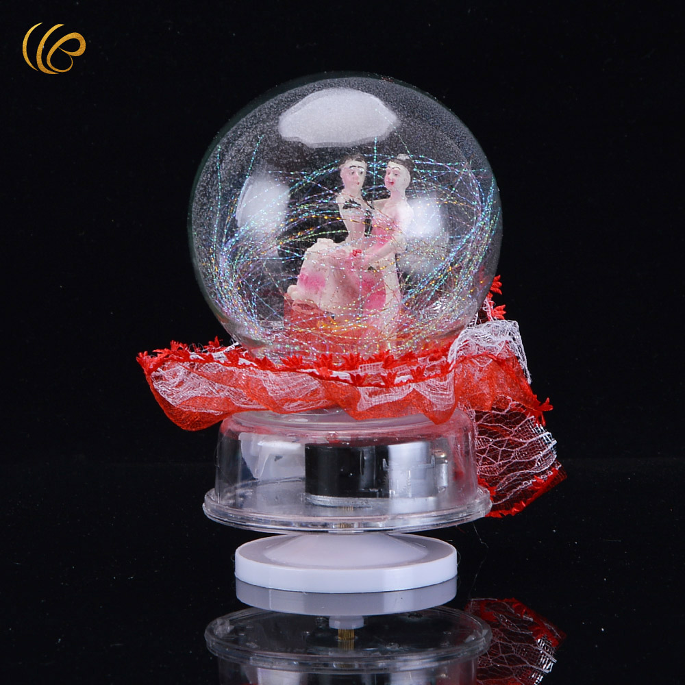 Red glass ball ornaments - Red Wedding Decoration Glass Ball Handmake Ornaments Music Box Christmas Home Decorations Crystal Ball Merry Christmas