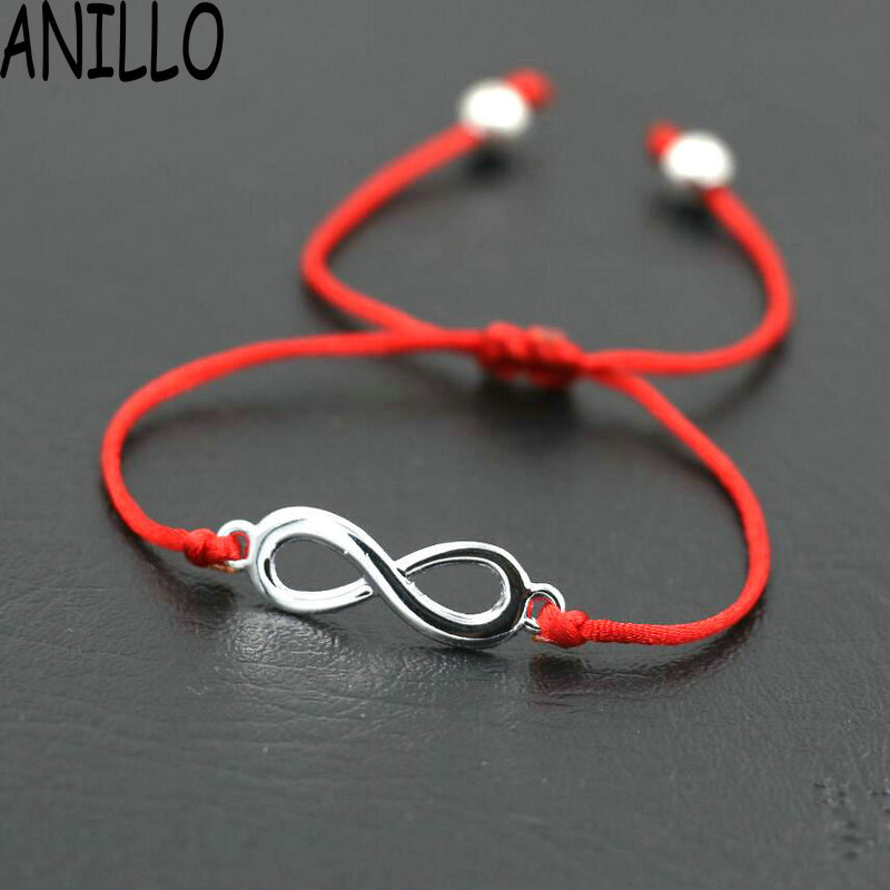 ANILLO Women Infinity 8 Charm Bracelet Lovers Lucky Red Thread String Bracelets Rope Braided Couple Adjustable Jewelry Gift