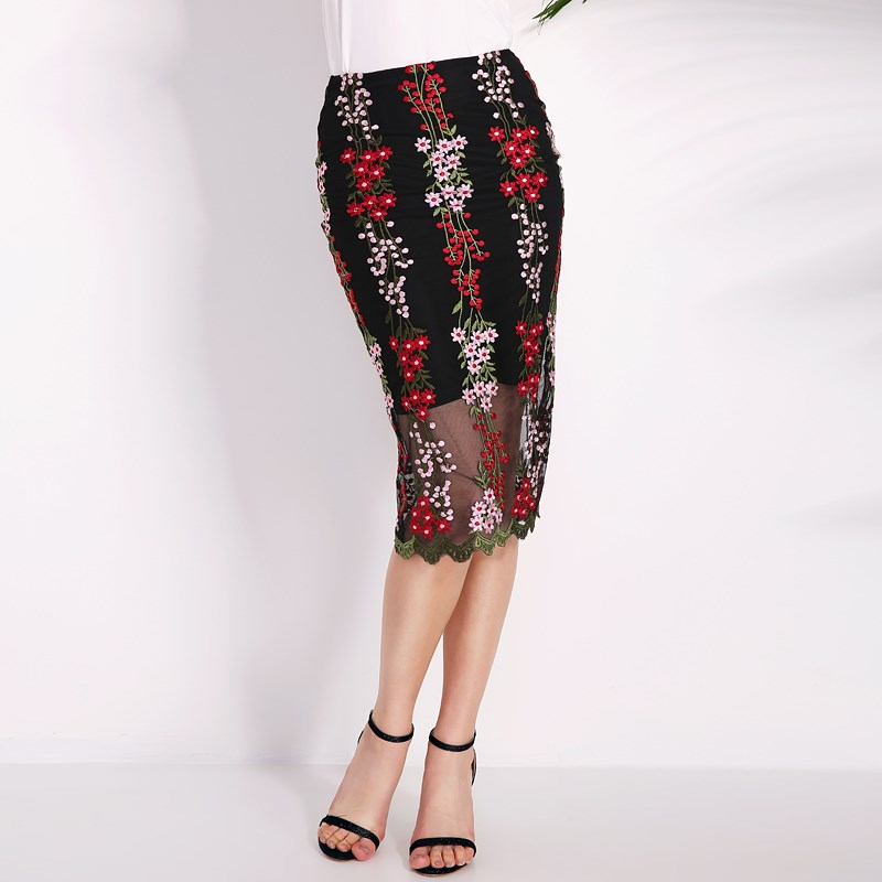 Women Vintage Pencil Skirts 2018 Summer Elegant Split Hem Floral Embroidery Mesh Patchwork Bodycon Slim Party Skirts