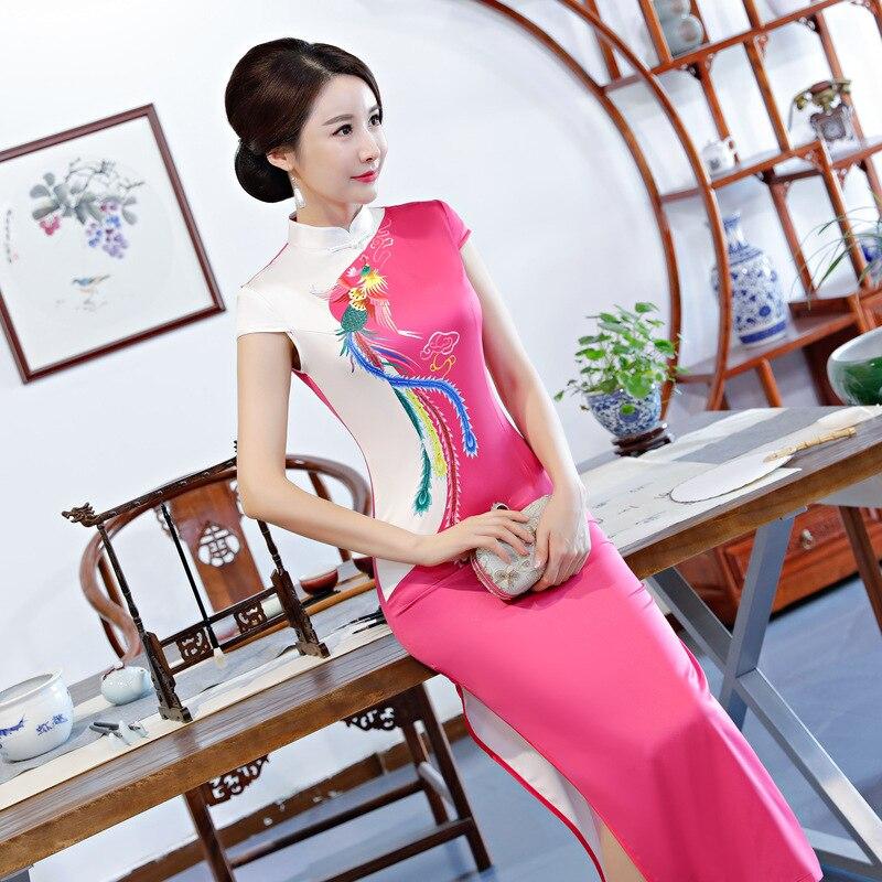 Robe d'été longue Cheongsam Vintage style chinois col Mandarin femmes rayonne Qipao robes de soirée Slim Vestido grande taille S 5XL-in Robes from Mode Femme et Accessoires on AliExpress - 11.11_Double 11_Singles' Day 1