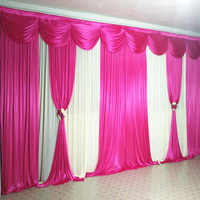 Hot Pink Wedding backdrop stage curtain drape party decoration