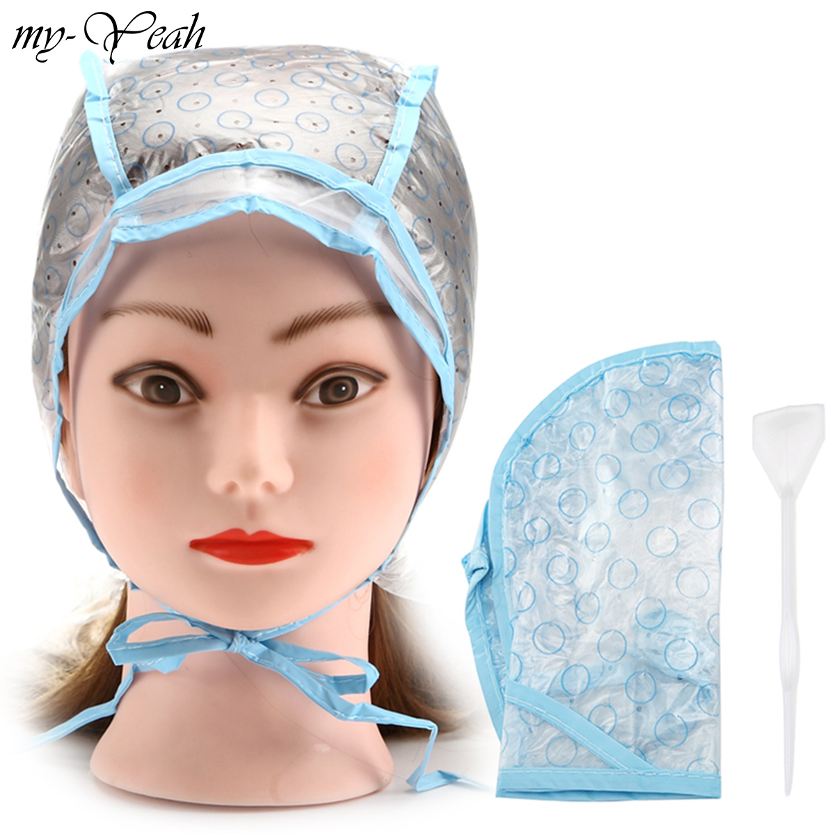 2pcs/set Hair Dyeing Cap + Hook Brush Coloring Highlighting Tinting Cover Protector DIY Home Use Pro Salon Hair Styling Tools