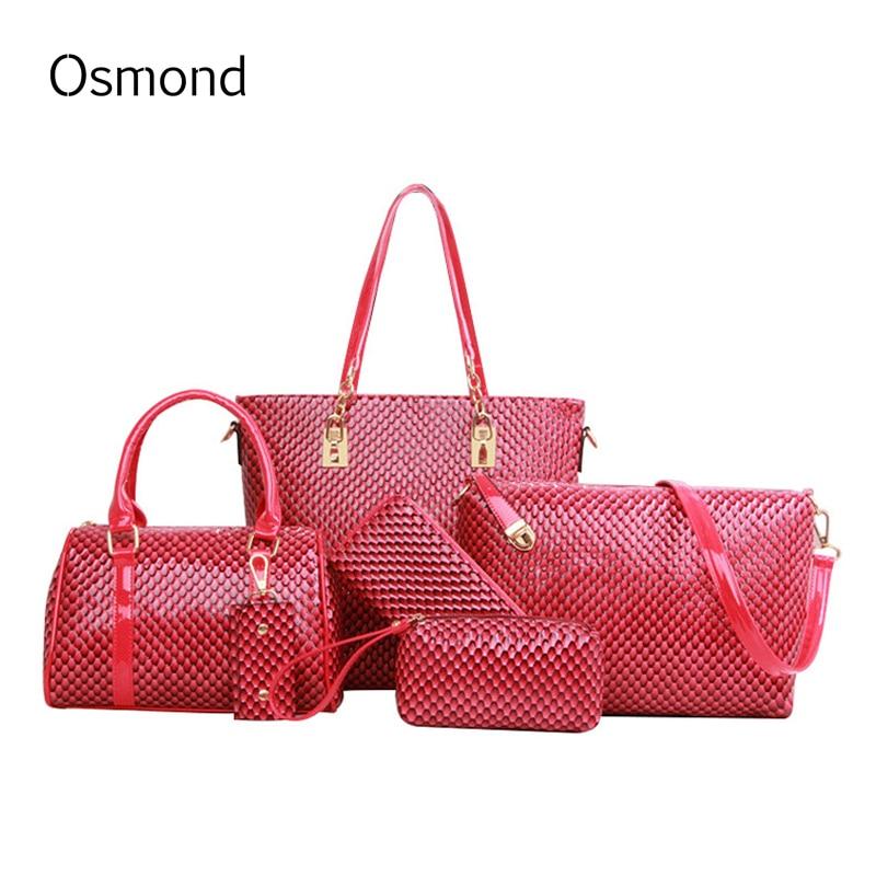 ФОТО Osmond Fashion Handbag Women Crossbody Bags Handbag+Messenger Bag+Wallet+Day Clutches Fish Scale Pattern Lady Gifts 6pcs/sets