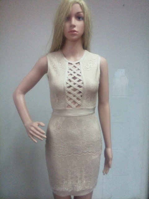 2018 Sexy Front Hollow Out Sleeveless Lace Women Bandage Dress Free Shipping  Bodycon Dresses Elegance Party Cocktail Vestidos