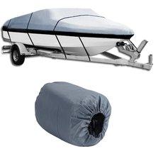 Универсальный 17-19ft Водонепроницаемый сверхмощный 210D Оксфорд PU ткань с покрытием Trailerable V Форма серый чехол для лодки аксессуар для корабля