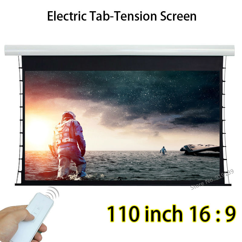 High Definition 110inch 16x9 Ratio Motorized Tab-Tension Projection Screen Aluminum Case 160 Degree Viewing Angle