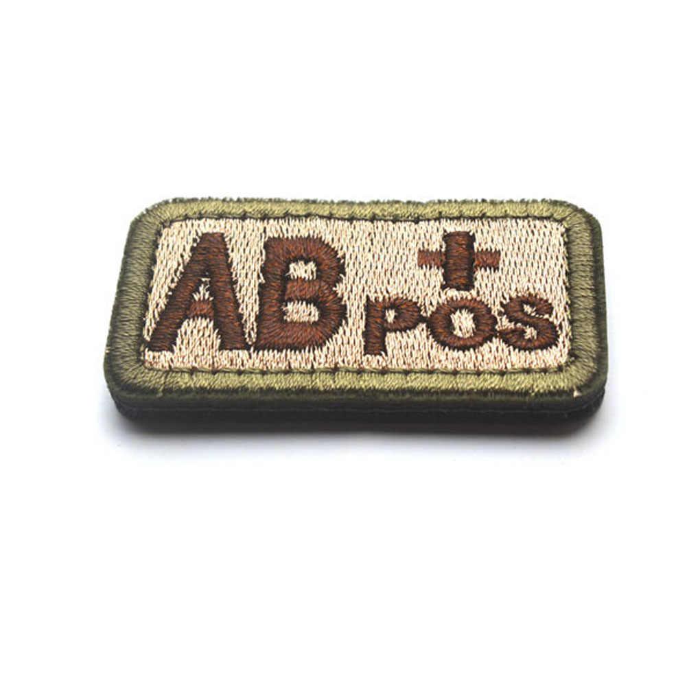 Adesivo bordado para mochila, ab + pos (positivo), tipo de sangue, reconhecimento de emergência, gancho bordado, braçadeira, adesivo militar