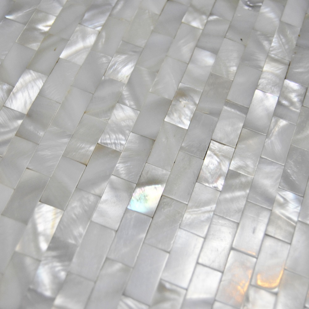 Home mosaics tiles white subway brick mother of pearl tile kitchen ...
